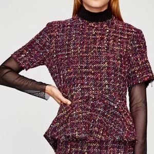 Zara Tweed Peplum top